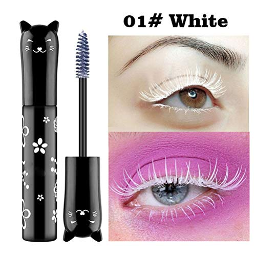 Cat Waterproof Mascara, Creamon Cat Waterproof Mascara Langlebige Mascara Curling Dickes Auge Wimpernverlängerung Make-up Augen Kosmetik Make-up Weiß