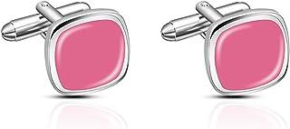 أزرار أكمام للرجال،إكسسوارات أزرار أكمام شخصية للأب أو الزوج أو الأب أو الأصدقاء (Color : Pink)