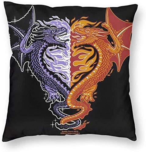 BONRI Ice and Fire Dragons Kissenbezug Einzigartige Kissenbezüge Kreative Kissenbezüge mit Reißverschluss Home Decorative Print Kissenbezug für Sofa Couch 40(18'x18' / 45x45cm