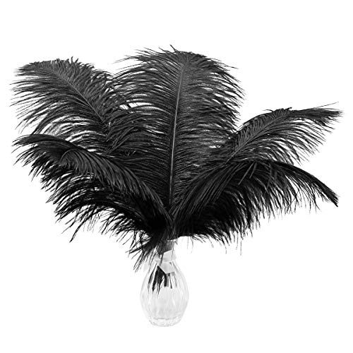 24pcs Natural Black Ostrich Feathers 10-12inch (25-30cm) for Wedding Party Centerpieces,Flower Arrangement and Home Decoration.
