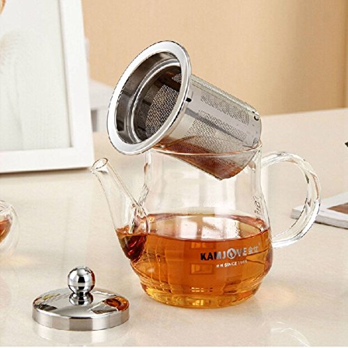 Saver 360ml Heart Resistant Clear Glass Tea Pot Tea Kettle With Stainless Steel Infuser