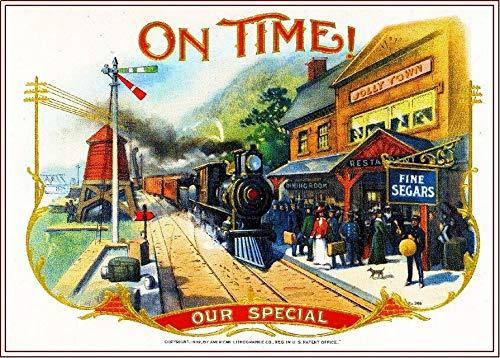 ABLERTRADE 1902 Pünktlich! Lokomotive Smoke Vintage Zigarren Tabakbox Kiste Innenetikett Druck 20,3 x 30,5 cm Wanddekoration Schild