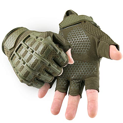 YOSUNPING Tactical Rubber Knuckle Fingerless Gloves Protection Guard for Motorcycle Cycling ATV Bike Motorbike Hunting Hiking Airsoft Paintball Riding Driving Work Outdoor Gear Green L