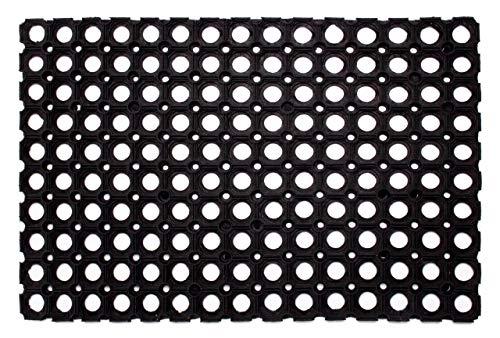 Gummi-Ringmatte/Wabenmatte offene Ringe Schmutzfangmatte antirutsch Fußabtreter Gummimatte, Weichkautschuk, schwarz, 40 x 60 cm in schwarz, Farbe:Schwarz, Größe:60 x 80 cm