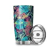 Taza de viaje con tapa de flores tropicales de palmera, taza térmica de acero inoxidable, diseño 3D, taza aislante al...