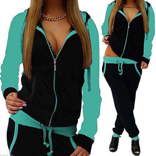 Dreamyth-sets 2Pcs Women Tracksuit Splice Zipper Hooded Long Sleeve Pullover Shirt Sport Tops+Long Pants (Green, XL)