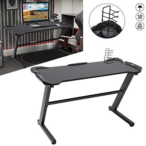 Aufun Gaming Tisch Groß Computer PC-Tisch, Schwarz Ergonomic Computertisch Z-Form schwarz, Gaming Table Schreibtisch