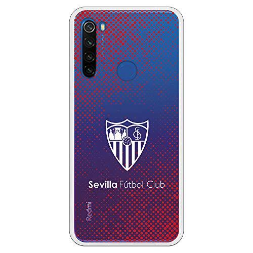 Funda para Xiaomi Redmi Note 8T Oficial del Sevilla FC Sevilla Escudo Blanco semitono Rojo para Proteger tu móvil. Carcasa para Xiaomi de Silicona Flexible con Licencia Oficial del Sevilla FC.