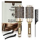 AIMIKE Juego de cepillos redondos, cepillo para el cabello en cerámica nanotermal y tecnología iónica, cepillo redondo de cerdas de jabalí para cepillar, 1 peine de cola + 4 pinzas para el cabello