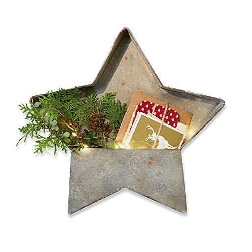 Loberon Organizer Brest, Weihnachtsdeko, Eisen, H/B/T/Ø ca. 37/3 / 6/37 cm, antikgrau