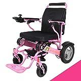 LOLRGV Tragbare Folding Aluminiumlegierung Elektro-Rollstuhl Leichte Transport Reise Stuhl mit abnehmbarem Fußpedal -