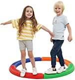 Special Supplies Balance Circle Beams Stepping Stones for Kids, 8 Pc. Set, Non-Slip Textured Surface and Slip Resistant Floor Rubber Edges, Promote Agility, Strength, Active Play