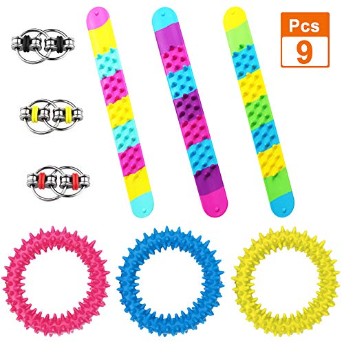 TSLIKAN 9 Sensory Fidget Toys Including 3 Slap Bracelets, 3 Hedgehog Bracelet, 3 Flippy Chain Fidget Toy for ADHD, OCD, Anxiety and Autism