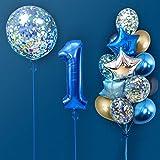 MMTX Foil Globo Número 1 Azul, Gigante Numeros 1er Cumpleaños Globos, Feliz Cumpleaños Decoración Globos 1 Años Chico, Globos Numeros para Cumpleaños, Fiesta, Decoración Reutilizable