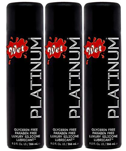 Wet Platinum Premium Personal Lube Silicone Lubricant 3.0 oz - Pack of 3