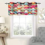 Hiiiman Sunshine Blockout Valance Curtain Stripes Ornate, Set of 2, 42'x36' for Indoor Living Dining Room