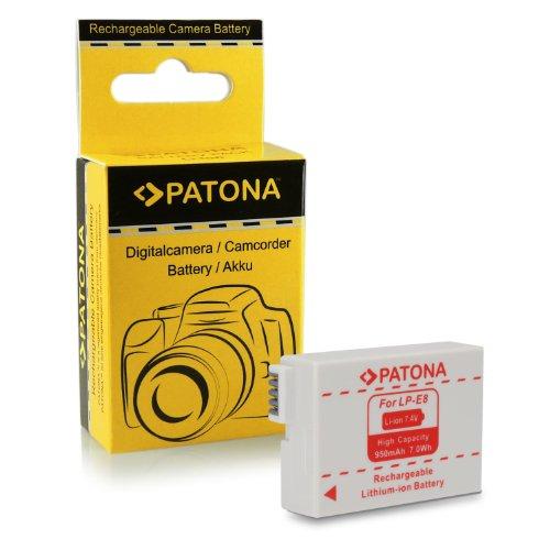 PATONA Bateria LP-E8 Compatible con Canon EOS 550D, 600D, 650D, 700D, Rebel T2i, T3i, T4i, T5i