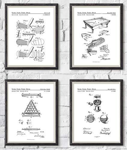 Madison Oak Design   Set of 4 Billiards Room Patent Art Prints   8x10 Portraits Include: Pool Table, Pool Cue, Pool Ball and Pool Rack   Billiards Decor, Pool Room Wall Prints, Wall Art   UNFRAMED