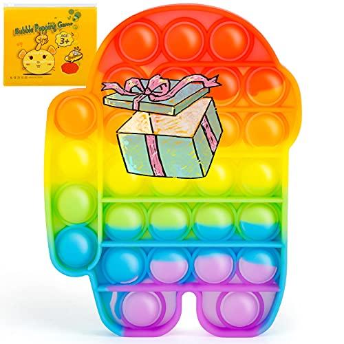 Push Pop Bubble Sensory Zappeln Spielzeug, Autismus Besondere Bedürfnisse Stressabbau Silikon Stressabbau Spielzeug Anti-Angst Zappeln (Among regenbogen)