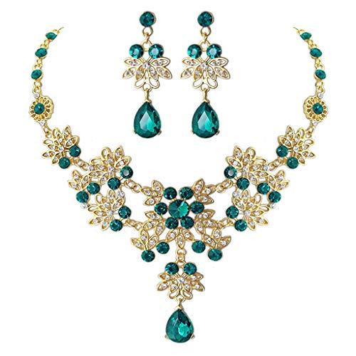 Fagu GreenCrystal Nupcial Floral Wave Lgrima Collar Pendientes Conjunto de Joyas para Mujer
