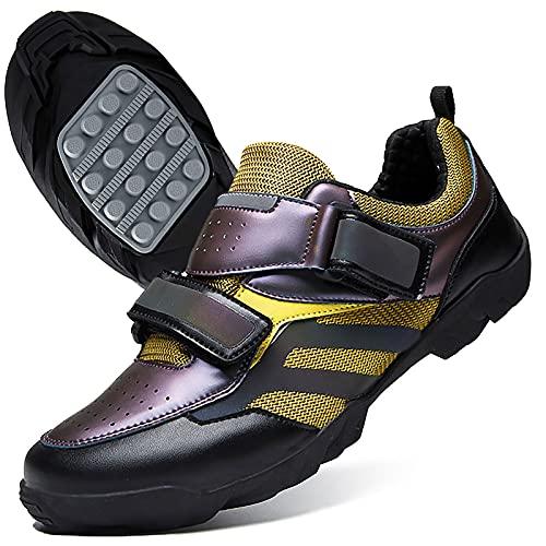 DSMGLRBGZ Zapatillas MTB Hombre, (36-48) Respirable Amortiguación Suela de Goma, con Botón de Ajuste, para Niño, Niña, Mujer, Zapatillas Montaña Bicicleta Hombres,Púrpura,48