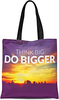Semtomn Canvas Tote Bag Abstract Inspirational on Blurred Cities Scape Sky Bangkok Durable Reusable Shopping Shoulder Grocery Bag
