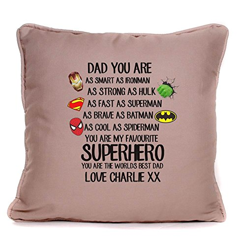 Personalised'Superhero worlds best dad' Piped Cushion With Pad | Best Throw Pillow| Best Gift Present Ideas For Dad, father, stepdad |18 x 18 Inch|