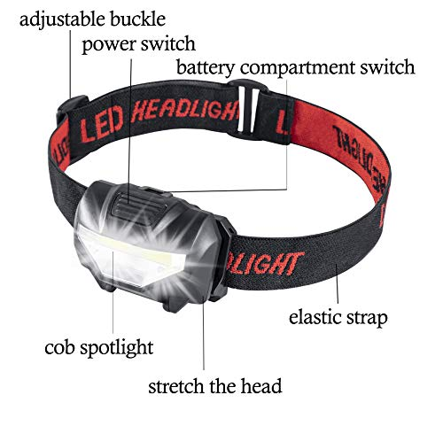 Head Torch, Xndryan Ultra Bright COB LED Head Torches, Lightweight Headlamp, 3 Lighting Modes, Adjustable Strap, Battery Operated Reading Torch for Camping, Hiking, Running, Cycling