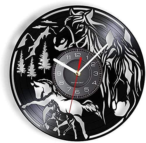 RFTGH Animal Caballo Disco de Vinilo Reloj de Pared Ecuestre en Forma de Herradura álbum de Joyas Caballo Arte Salvaje Reloj de Cuarzo no silencioso