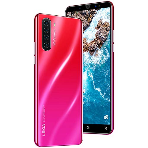 Smartphone ohne Vertrag Android 7.0 Quad-Core Handy Dual-SIM 1GB+4GB 3in1 Kartensteckplatz 5,0 Zoll Bildschirm Rückseite 4 Kamera mit 5MP Makro-Objektiv (rot)