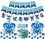 Lilo and Stitch Birthday Party Decoration, Birthday Banner Cake Toppers Balloons,Stitch Theme Birthday Party Decorations