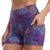 Amazon Essentials Workout Volleyball Yoga Print Short Pockets High Waist Exercise Running Gym Shorts for Women 3' Purple Circle Flower-M