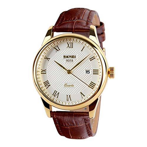 SKMEI Men Business Quartz Watches Analog Casual Dress Watch Leather Band with Auto Date (Brown+Gold)