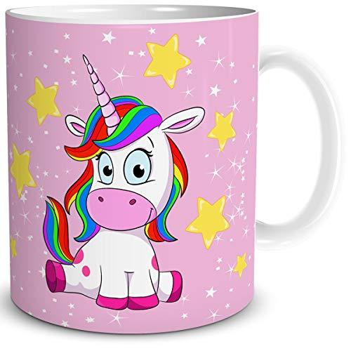 TRIOSK Tasse Einhorn lustig mit Regenbogen Unicorn Lady Sit-in Geschenk für Einhornfans Frauen Freundin Mädchen Kinder Geburtstag Rosa