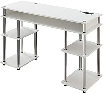 Convenience Concepts Designs2Go No Tools Student Desk with Charging Station and Shelves, White