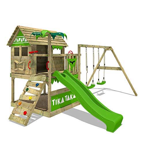 FATMOOSE Parque infantil de madera TikaTaka Town XXL con columpio y tobogán, Casa de juegos de jardín con arenero y escalera para niños