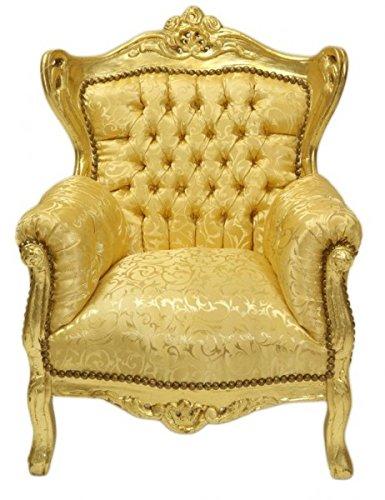 Casa Padrino Barock Kinder Sessel Gold Muster/Gold - Möbel