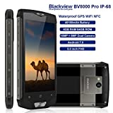 Blackview BV8000 Pro Unlocked Rugged Waterproof Smartphone International Version Dual Sim 6GB Ram 64GB Rom Dual camera 5.0in FHD Screen 4180mAh battery GPS 4G LTE Compatible with AT&T/Tmobile (Gold)