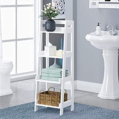 UTEX 4-Tier Ladder Shelf, Bathroom Shelf Freestanding, 4-Shelf Spacesaver Open Wood Shelving Unit, Ladder Shelf (White)