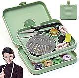 Mini Kit de Costura - Portátil Kit Costura para Hogar de Viaje Accesorios de Costura,Caja de Costura Magnética Pequeña,Kit de Costura para Bricolaje (Verde)