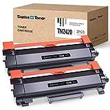 SWISS TONER TN2420 Cartucho de tóner Compatible con Brother TN2420 TN-2420 para HL-L2310D HL-L2370DN HL-L2375DW MFC-L2710DN MFC-L2710DW MFC-L2730DW MFC-L2750DW DCP-L2510D DCP-L2530DW, 2X Negro