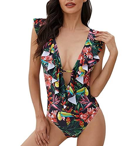 CMTOP Sexy Mujer Bikinis 2021 Conjunto De Frill Bikini Traje De Baño con Volantes Bikini Cuello en V Bañador de Baño de Una Pieza Verano