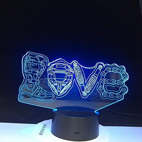 Lámpara de ilusión 3D Luz de noche Led Regalos de motocicleta Modelado de amor mecánico Creativo 7 colores cambiantes Lámpara de mesa luminosa Decoración del hogar
