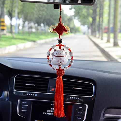 Guiping Coche colgante adornos espejo retrovisor cerámica gato suerte gran entrada seguridad colgante coche interior estilo joyería