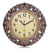 Lafocuse Relojes de Pared Vintage Retro Color Cobre Silencioso Grandes Reloj de Cuarzo Forma de Flor Decorativo para Salon Comedor 43cm