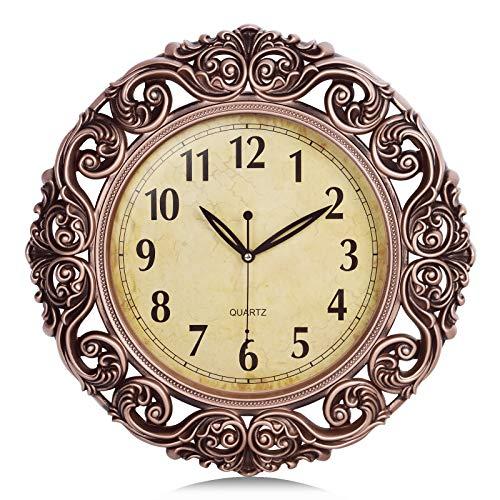 Lafocuse Relojes de Pared Vintage Retro Color Cobre Silencio