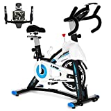 pooboo Exercise Bike Stationary Indoor Cycling Bike for Home Use Belt Drive with Adjustable Comfortable Seat,LCD Monitor & Phone Mount and Heavy Flywheel for Home Cardio Workout