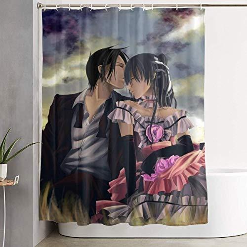 ChenZhuang Black Butler Anime Duschvorhang mit Haken (60 x 72 Zoll) Wasserdichter Duschvorhang aus Polyestergewebe für Badezimmerduschen & Badewannen