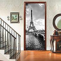 ホームギフトお土産用の3Dドアデカールモノクロアイアンタワーパターン印刷ステッカービニールリムーバブルアートデコレーションDIY壁画
