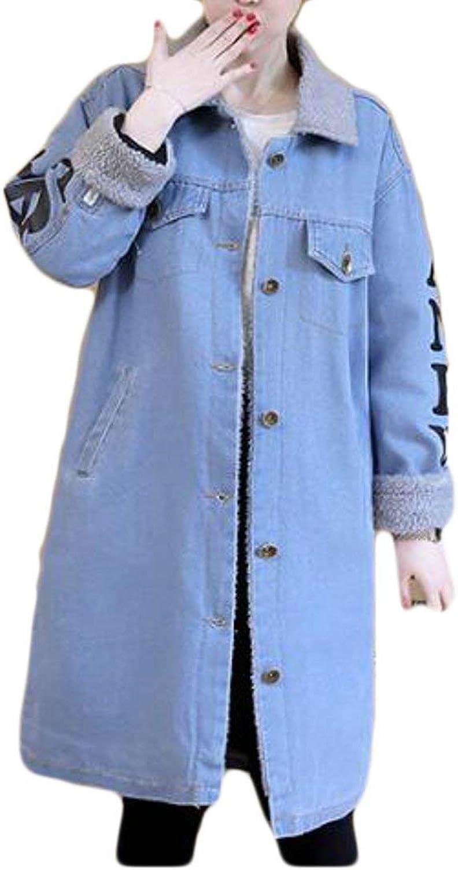 BU2H Womens Warm Thicken Denim Coat Lamb Wool Parka Down Jacket Overcoat